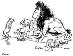 Le lion, le renard et l'âne. Source : http://data.abuledu.org/URI/517d6acd-le-lion-le-renard-et-l-ane