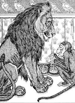 Le Lion, le Singe, et les Deux Ânes. Source : http://data.abuledu.org/URI/519cc88c-le-lion-le-singe-et-les-deux-anes