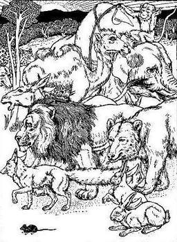 Le lion s'en allant en guerre. Source : http://data.abuledu.org/URI/5199fcb4-le-lion-s-en-allant-en-guerre