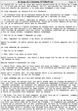 Le Loup et l'Homme. Source : http://data.abuledu.org/URI/51129c41-le-loup-et-l-homme