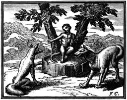 Le loup plaidant contre le renard, par devant le singe. Source : http://data.abuledu.org/URI/510c264b-le-loup-plaidant-contre-le-renard-par-devant-le-singe