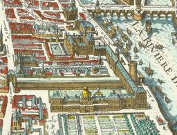 Le Louvre et les Tuileries en 1615. Source : http://data.abuledu.org/URI/50acce46-le-louvre-et-les-tuileries-en-1615