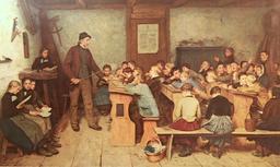 Le maître d'école au XIXème siècle. Source : http://data.abuledu.org/URI/519f8507-le-maitre-d-ecole-au-xixeme-siecle