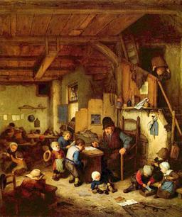 Le maître d'école au XVIIème siècle. Source : http://data.abuledu.org/URI/529bc961-le-maitre-d-ecole-au-xviieme-siecle