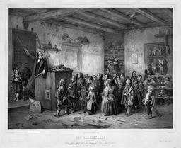 Le maître dans sa salle de classe en 1850. Source : http://data.abuledu.org/URI/529bd076-le-maitre-dans-sa-salle-de-classe-en-1850