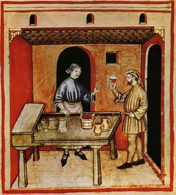 Le marchand de vin rouge au Moyen Age. Source : http://data.abuledu.org/URI/50c8af16-le-marchand-de-vin-rouge-au-moyen-age