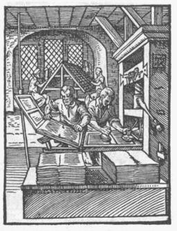 Le métier d'imprimeur au XVIème siècle. Source : http://data.abuledu.org/URI/47f5548c-le-metier-d-imprimeur-au-xvieme-siecle