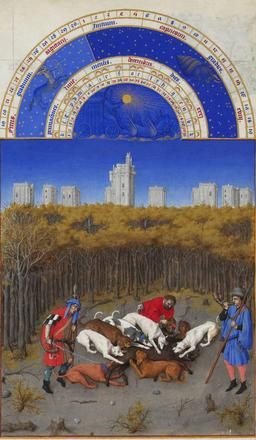 Le mois de décembre des Très Riches Heures du Duc de Berry. Source : http://data.abuledu.org/URI/531c5bde-le-mois-de-decembre-des-tres-riches-heures-du-duc-de-berry