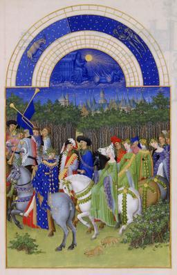 Le mois de Mai des Très Riches Heures du Duc de Berry. Source : http://data.abuledu.org/URI/531c528d-le-mois-de-mai-des-tres-riches-heures-du-duc-de-berry