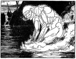 Le monstre Talus entre dans l'eau. Source : http://data.abuledu.org/URI/53ee1267-le-monstre-talus-entre-dans-l-eau