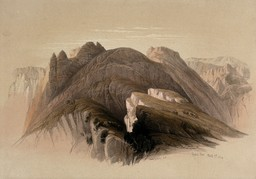 Le Mont Hor depuis Petra en 1849. Source : http://data.abuledu.org/URI/54b5adb4-le-mont-hor-depuis-petra-en-1849