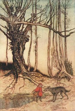 Le petit chaperon rouge dans les bois. Source : http://data.abuledu.org/URI/5112b0f1-le-petit-chaperon-rouge-dans-les-bois