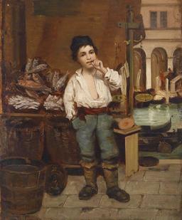 Le petit marchand de poisson à Venise en 1872. Source : http://data.abuledu.org/URI/58cb27a8-le-petit-marchand-de-poisson-a-venise-en-1872