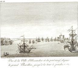 Le port d'Alexandrie en 1799. Source : http://data.abuledu.org/URI/591c7b84-le-port-d-alexandrie-en-1799