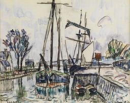 Le port de Quimper par Signac. Source : http://data.abuledu.org/URI/585884c4-le-port-de-quimper-par-signac