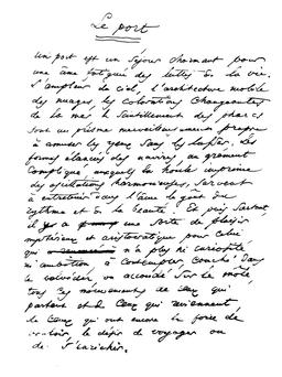 Le port manuscrit de Baudelaire. Source : http://data.abuledu.org/URI/51a5082c-le-port-manuscrit-de-baudelaire