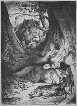 Le renard et le sanglier. Source : http://data.abuledu.org/URI/52ed64c2-le-renard-et-le-sanglier