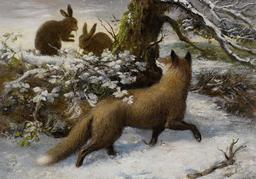 Le renard et les lapins dans la neige. Source : http://data.abuledu.org/URI/515a6e84-le-renard-et-les-lapins-dans-la-neige