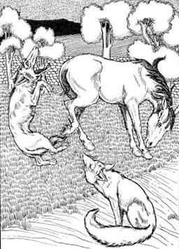 Le Renard, le Loup, et le Cheval. Source : http://data.abuledu.org/URI/519cc3c2-le-renard-le-loup-et-le-cheval