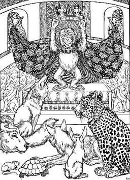 Le Renard, le Singe, et les Animaux. Source : http://data.abuledu.org/URI/519c0270-le-renard-le-singe-et-les-animaux