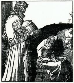 Le roi Arthur et la vieille femme en 1903. Source : http://data.abuledu.org/URI/5950403c-le-roi-arthur-et-la-vieille-femme-en-1903