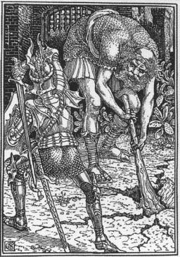 Le roi Arthur et le géant. Source : http://data.abuledu.org/URI/47f5f07d-le-roi-arthur-et-le-geant