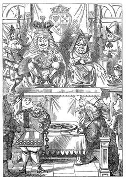 Le roi et la reine inspectent les tartes d'Alice. Source : http://data.abuledu.org/URI/50cf7cd8-le-roi-et-la-reine-inspectent-les-tartes-d-alice