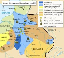 Le royaume d'Hugues Capet vers 995.. Source : http://data.abuledu.org/URI/56c98391-le-royaume-d-hugues-capet-vers-995-