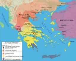 Le royaume de Macédoine à la mort de Philippe. Source : http://data.abuledu.org/URI/50773af4-le-royaume-de-macedoine-a-la-mort-de-philippe