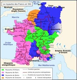 Le royaume des Francs en 561. Source : http://data.abuledu.org/URI/522a5840-le-royaume-des-francs-en-561