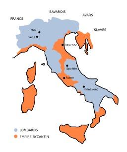 Le royaume lombard au VIème siècle. Source : http://data.abuledu.org/URI/51f307b4-le-royaume-lombard-au-vieme-siecle