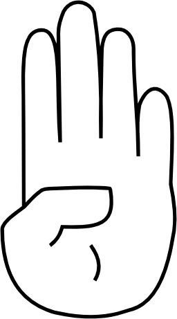 Le signe 4 avec la main. Source : http://data.abuledu.org/URI/533817db-le-signe-4-avec-la-main