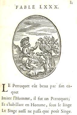 Le singe et le perroquet. Source : http://data.abuledu.org/URI/5916b9b5-le-singe-et-le-perroquet