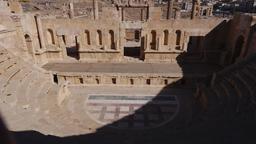 Le Théâtre Nord de Jerash vu depuis les gradins. Source : http://data.abuledu.org/URI/54b45181-le-theatre-nord-de-jerash-vu-depuis-les-gradins