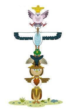Le totem des huit oiseaux. Source : http://data.abuledu.org/URI/566b485c-le-totem-des-huit-oiseaux