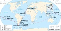 Le tour du monde de Magellan et Elcano. Source : http://data.abuledu.org/URI/5416ab9c-le-tour-du-monde-de-magellan-et-elcano