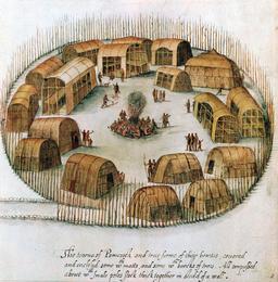 Le village indien de Pomeioc au XVIème siècle. Source : http://data.abuledu.org/URI/5266335d-le-village-indien-de-pomeioc-au-xvieme-siecle