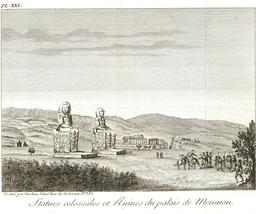 Les colosses de Memnon en 1799. Source : http://data.abuledu.org/URI/591e345c-les-colosses-de-memnon-en-1799