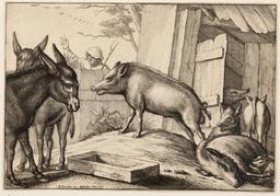Les deux ânes et les cochons. Source : http://data.abuledu.org/URI/54b2f67f-les-deux-anes-et-les-cochons