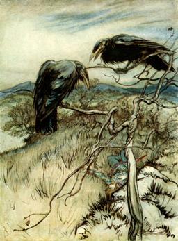 Les deux corbeaux. Source : http://data.abuledu.org/URI/47f5d0c5-les-deux-corbeaux