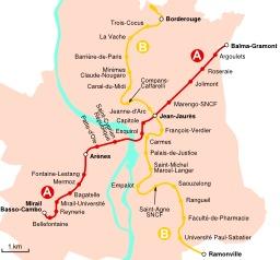Les deux lignes du métro de Toulouse. Source : http://data.abuledu.org/URI/50dce95a-les-deux-lignes-du-metro-de-toulouse