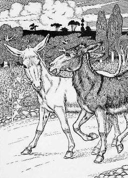 Les deux ânes. Source : http://data.abuledu.org/URI/519a8a20-les-deux-mulets