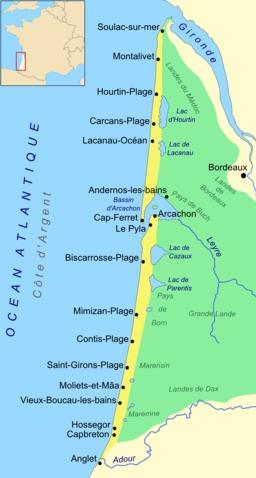 Les lacs de la côte d'argent en Aquitaine. Source : http://data.abuledu.org/URI/557d8cf6-les-lacs-de-la-cote-d-argent-en-aquitaine
