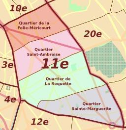 Les quartiers du 11e arrondissement de Paris. Source : http://data.abuledu.org/URI/5043dd94-les-quartiers-du-11e-arrondissement-de-paris
