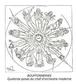 Les quatorze poses du chef d'orchestre moderne en 1905. Source : http://data.abuledu.org/URI/54bbcf91-les-quatorze-poses-du-chef-d-orchestre-moderne-en-1905