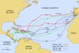 Les quatre voyages de Christophe Colomb. Source : http://data.abuledu.org/URI/573b8a27-les-quatre-voyages-de-christophe-colomb