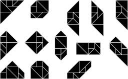 Les treize formes convexes du tangram. Source : http://data.abuledu.org/URI/54c4e2d6-les-treize-formes-convexes-du-tangram