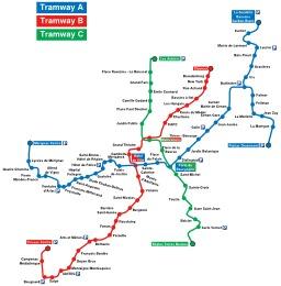 Les trois lignes du Tramway de Bordeaux. Source : http://data.abuledu.org/URI/50dcebd6-les-trois-lignes-du-tramway-de-bordeaux