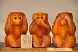 Les trois singes de la Sagesse. Source : http://data.abuledu.org/URI/548b674a-les-trois-singes-de-la-sagesse