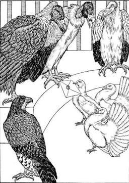 Les Vautours et les Pigeons. Source : http://data.abuledu.org/URI/519ce6cc-les-vautours-et-les-pigeons